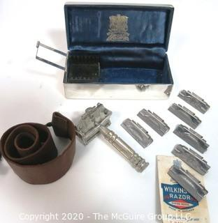 Vintage Wilkinson Sword  Seven Day Shaving Kit in Silver Art Deco Box.  Includes Safety Straight Razor, 7 Day Blade Set & Strop
