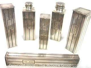 Art Deco Six Piece International Silver Sterling Dresser or Vanity Kit; 527g