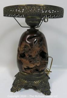 """Lathe Turned Burlwood Base Table Lamp, without shade. 13"""" to shade ring"""