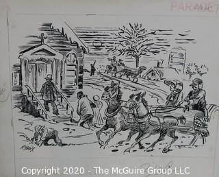 """Vintage Al Banx Signed Cartoon Board, Measures approximately 14"""" x 11""""."""
