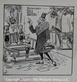 """Vintage Al Banx Signed Cartoon Board, Measures approximately 12"""" x 11""""."""
