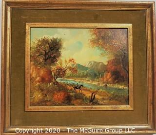 Framed Oil on Canvas Landscape with Rider on Horse, Signed by Artist ALineri.