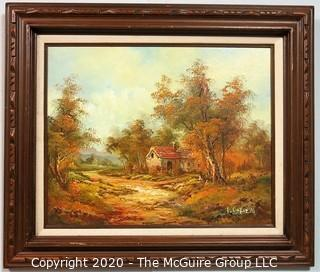Framed Oil on Canvas Landscape with House Signed by Artist L Cafieri