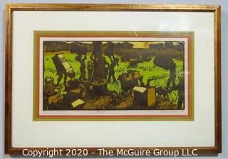 """Framed Colored Woodcut by Hanne Greaver Entitled """"Botes"""".  1969, Limited Edition Signed."""