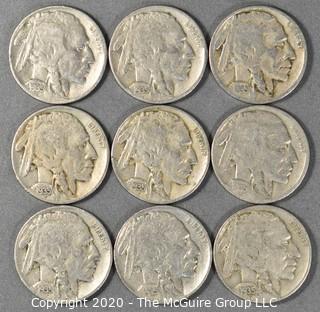 (9) Buffalo Nickels