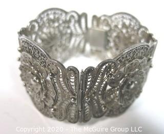Sterling Silver Wide Filigree Bracelet.  Clasp is broken. 37.5 g