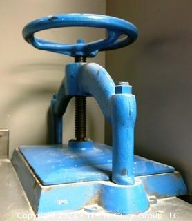 Blue Painted Cast Iron Bookbinding Press