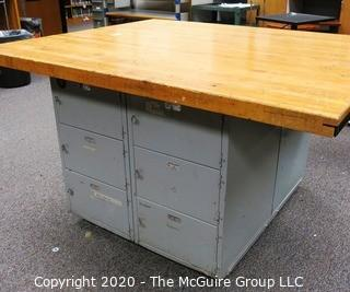 "Vintage Industrial Wood Top Work Table with Storage Underneath on Casters.   Measures 54 x 64 x 36""t"