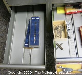 """24"""" x 18"""" x 52"""" Industrial Steel Royal McBee Tool File Cabinet with contents."""