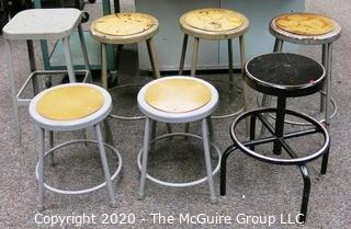 (7) Industrial Stools. Varying Heights.