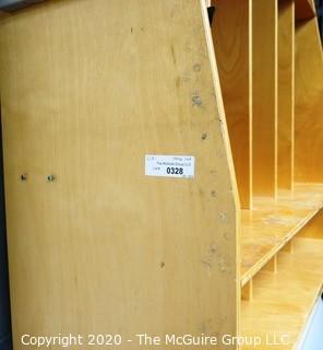 Wooden Storage Cubbies with Coat Hooks.