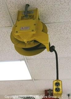 Daniel Woodhead 600V Model 9383 Industrial Grade Ceiling Mounted Retractable Electrical Cord Reel;  12/3 SOW-A 90C (Unit has been disconnected from power source, but still requires disassembly from ceiling by buyer)