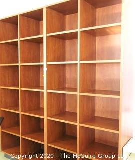 Wooden Cabinet Shelf with 24 Square Cubbies. Measures approximately 7' x 6'.