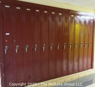 "(13) 9"" x 72"" Metal Combination Lockers."