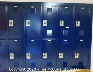 (26) Stacked Blue Metal Combination Lockers