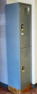 """Set of Stacked Blue Metal Combination Lockers 15"""" x 18"""""""
