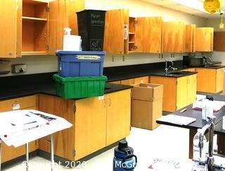Science room tables and cabinetry. You must disassemble and remove what items you want.