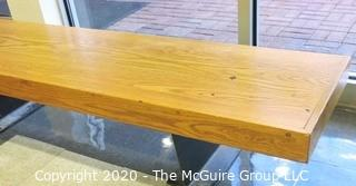 """19 x 74 x 15""""t Mid Century Modern Wooden Foyer Bench with Cast Iron Legs."""