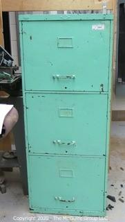 Vintage Green Painted Metal File Cabinet with Contents