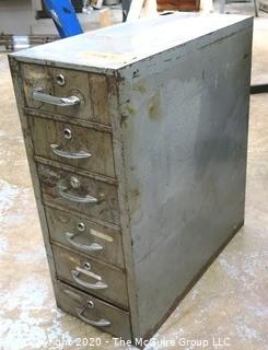 "11"" x 24"" x 28""T Vintage Industrial Six Drawer Metal File Cabinet."
