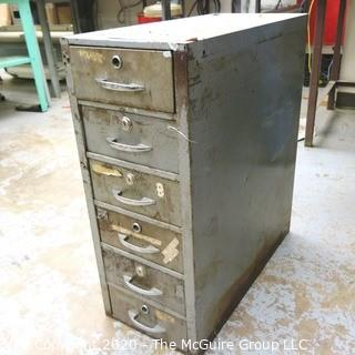 "11"" x 24"" x 28"" Vintage Industrial Six Drawer Metal File Cabinet; With Contents."