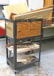 Metal/Wood Crate on Casters with Wood Scraps
