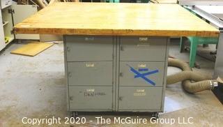 "37"" x 50"" x 60""Vintage Industrial Work Table with Metal Locker Base."