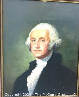 Founding Fathers: original framed art of George Washington and George Mason. Painted in 1950's by artist Rolla Smith, some damage to non-critical areas.