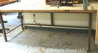 """36 X 80 X 31""""t Industrial Wood Workshop Table with Steel Base."""