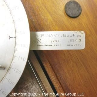 Vintage WWII US Navy BuShips Drafting Machine in Wood Case.  Made by Bruning Wallace, 1942.
