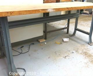 "29 X 78 33""t Industrial Wood Workshop Table with Steel Base."