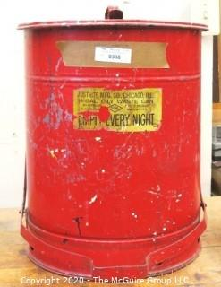 "16"" Diameter x 20""T Industrial Red Justrite 14 Gallon Oily Waste Can  (USED)"