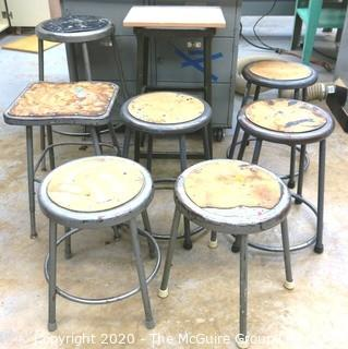 (8) Industrial Stools; Heights and styles vary.
