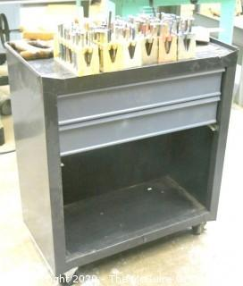 Metal Tool Cart on Casters with 3 Hand Saws and Collection of Metal Stamping Tools in Cases.  Includes contents of drawers.