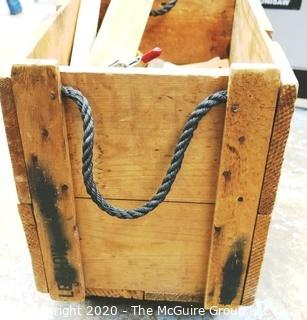 Vintage Wooden Crate on Casters with Wood Scraps.