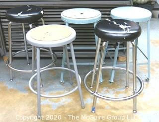(5) Industrial Stools in Varied Styles.