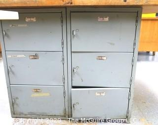 """53"""" x 63"""" x 33""""t Vintage Industrial Wood Top Work Table with Locker Base."""