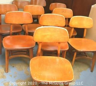 Set of (10) Mid-Century Wooden Side Chairs.