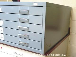 "46"" x 25"" x 17""t Safco Facil Steel (5) Drawer Flat File."