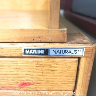 """41"""" x 15"""" x  27"""" Wood Desk Top (5) Drawer Flat File made by Mayline Naturalist."""