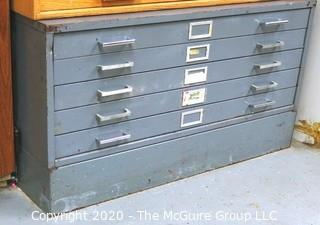 "40"" x 22""x 30""t Industrial Grey Steal (5) Drawer Flat File on Base"