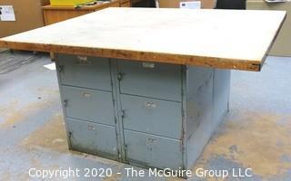 "53"" x 63"" x 33""t Industrial Wood Workshop Table with Steel Locker Base."
