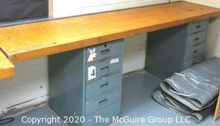 """24"""" x 96"""" x 34""""t Industrial Wood Block Table with Metal File Drawer Base."""