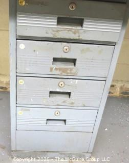 """27"""" x 130"""" x 34""""t Industrial Wood Block Table with Metal File Drawer Base.  Does not include socket back board."""