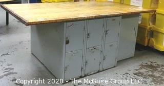 "48"" x 84"" x  33""t Industrial Wood Workshop Table with Steel Locker Base."
