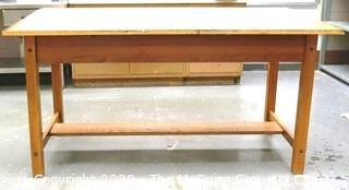 """72"""" x 38"""" x 37""""t  Wooden Industrial Work Table."""