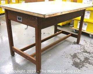 """60"""" x 27"""" x 37""""t Wooden Industrial Work Table."""
