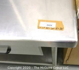 """71"""" x 30"""" x 36"""" Stainless Steel Work Table with Drawer."""