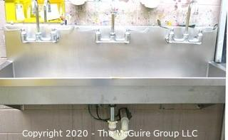 "20 x 60"" Three station stainless steel sink"