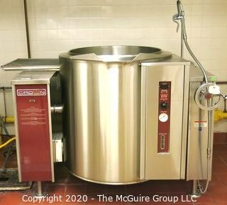 New GLT-40 model shown with optional spring assist cover. Crown GLT-40, 40 Gallon Gas 2/3 Jacket Steam Kettle, Free Standing, Tilting, 100,000 Btu